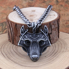 Load image into Gallery viewer, Custom Vikings Norse Wolf Head Pendant and Chain