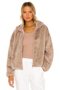 Indy Faux Rabbit Zip Up J Caramel