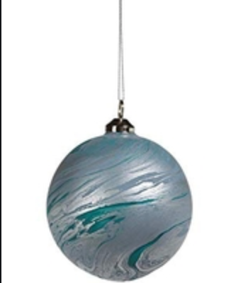 Matt Blue Water Color Glass Ornament