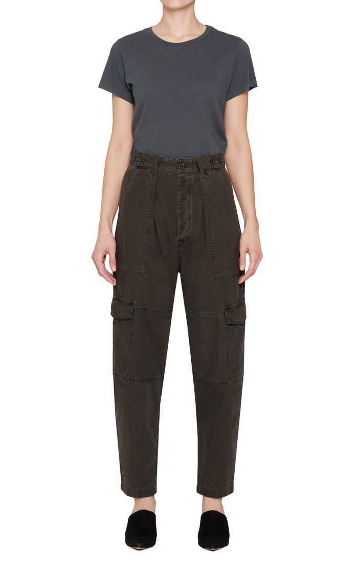 Mila High Rise Utility Tapered Pant Washed Black
