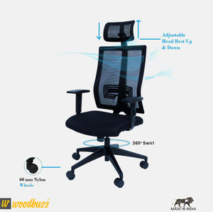 Ergonomic Chair- Bliss (High Back) - woodbuzz.in