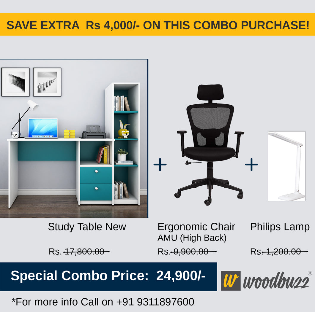 Combo-1A (WFH Table + Chair+Lamp) - woodbuzz.in