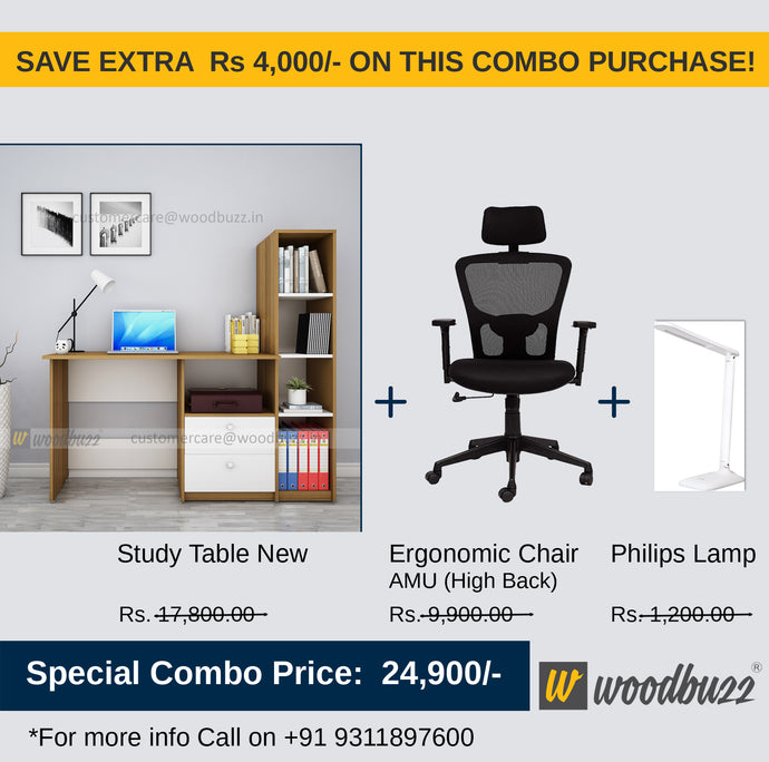 Combo-1B (WFH Table + Chair+Lamp) - woodbuzz.in