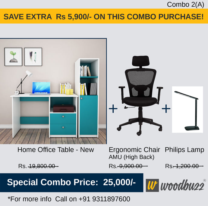 Combo-2A New (WFH Table + Chair+Lamp) - woodbuzz.in