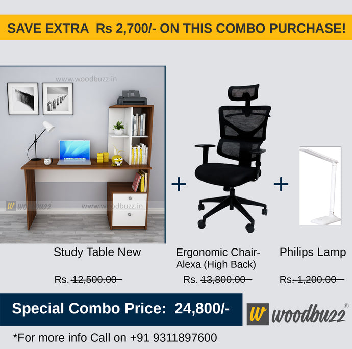 Copy of Combo-3B (WFH Table + Chair+Lamp) - woodbuzz.in