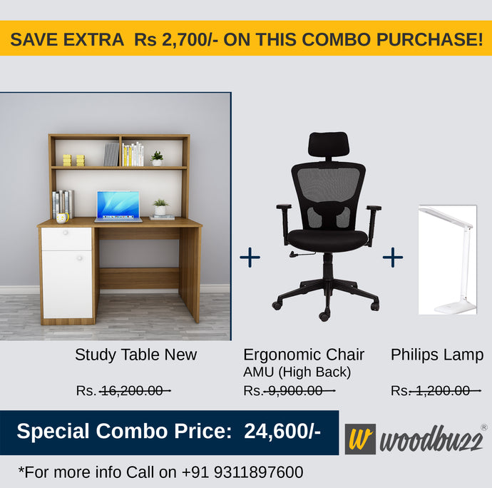 Combo-4 (WFH Table + Chair+Lamp) - woodbuzz.in