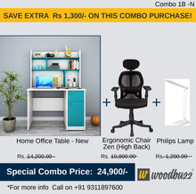 Load image into Gallery viewer, Combo-1B-N (WFH Table + Chair+Lamp)