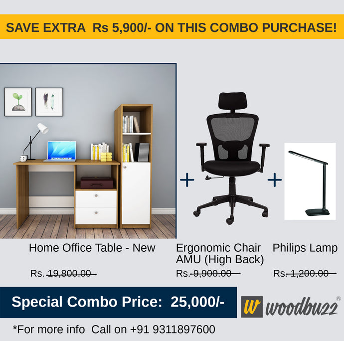 Combo-2B New (WFH Table + Chair+Lamp) - woodbuzz.in