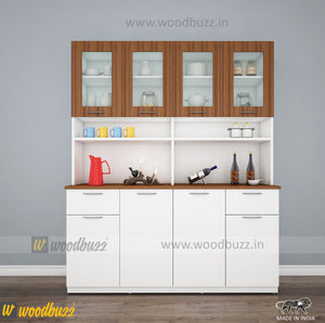 Modish Crockery Unit - 4Door - White+Walnut