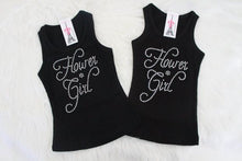 Black Flower Girl Tank Top with Rhinestones - Flat Lay