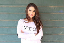 Mrs off the shoulder shirt with Heart sleeves - Arenlace Bridal Boutique