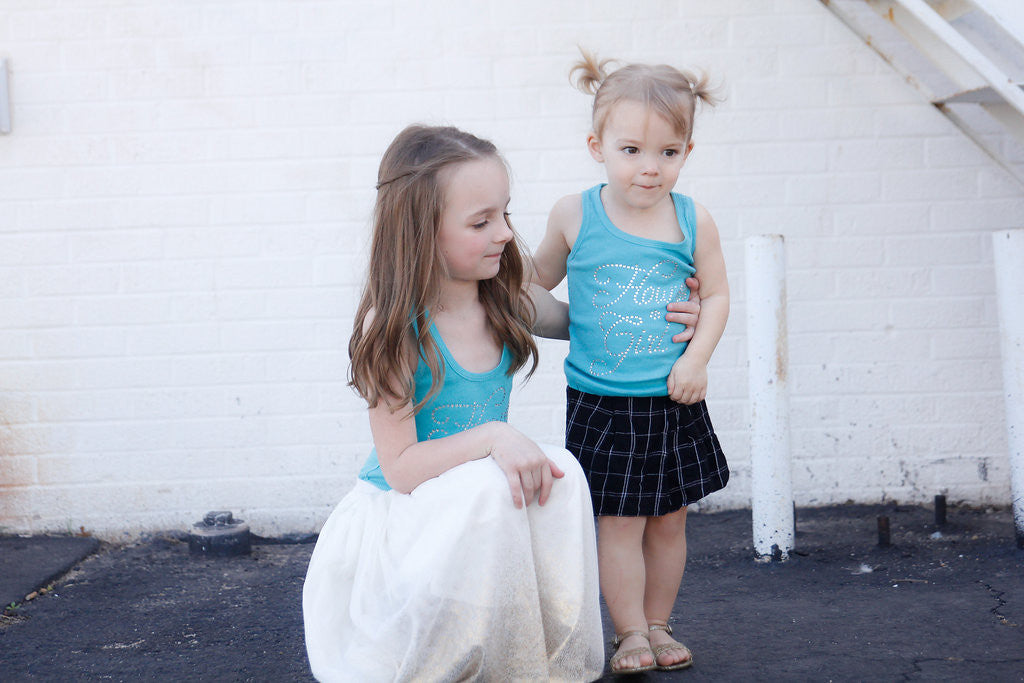 Teal Flower Girl Rhinestone Tank top - Arenlace Bridal Boutique