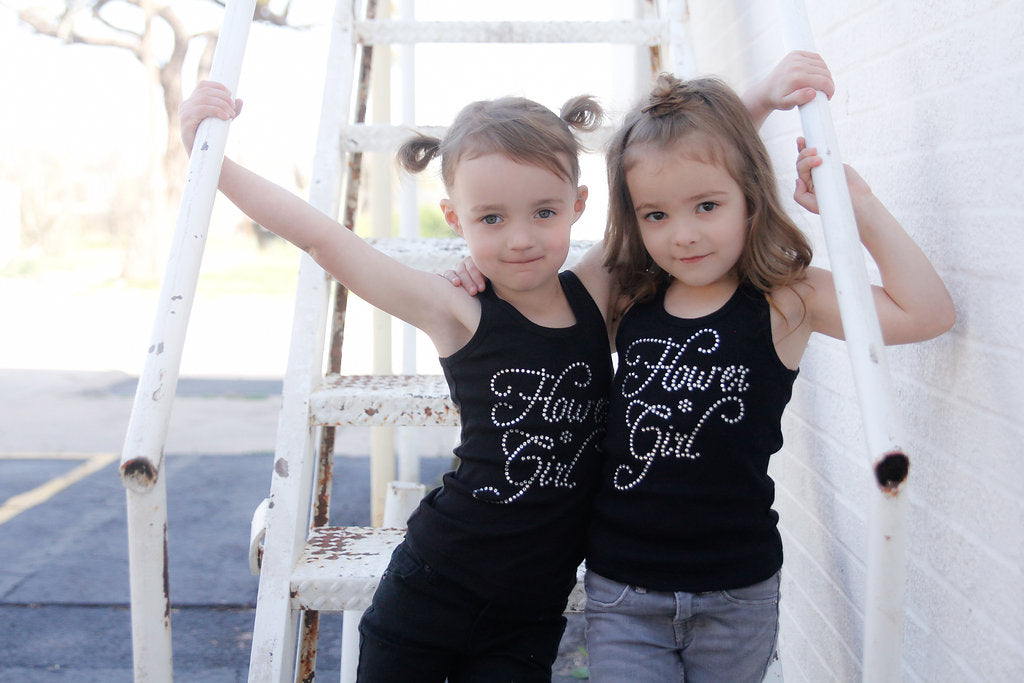 Black Flower Girl Rhinestone tank top - Arenlace Bridal Boutique
