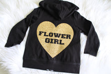 Heart Flower Girl Black Hoodie - Arenlace Bridal Boutique