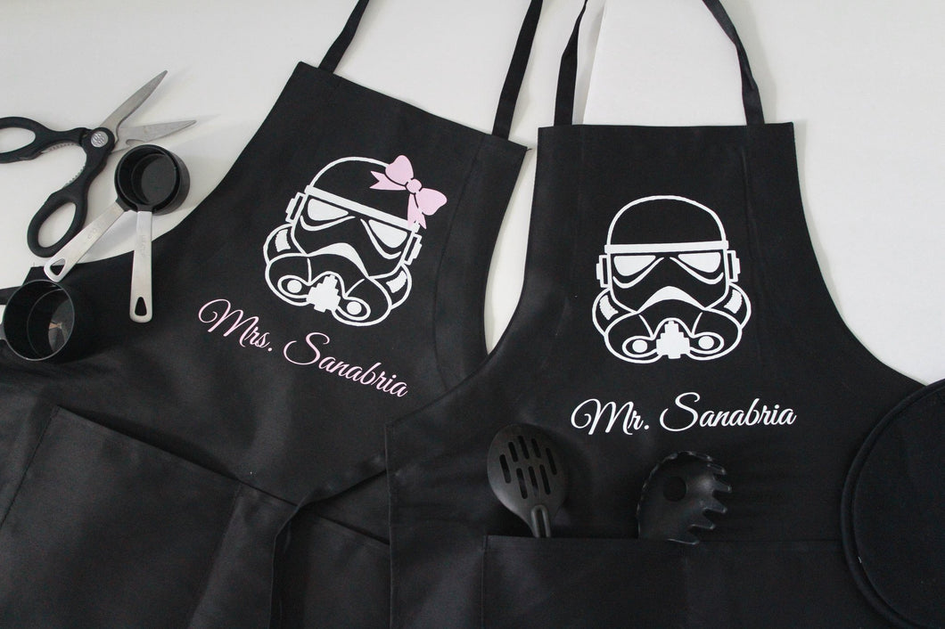 Mr and Mrs star wars inspired his and her cooking aprons - Arenlace Bridal Boutique