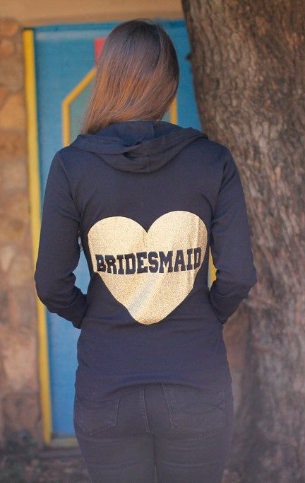 Heart Bridesmaid Hoodie - Backside Full Body