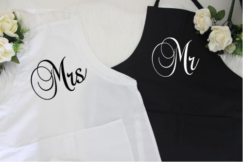 WEDDING GIFT IDEAS | Mr and Mrs Couples Gift Box | Gifts for Couples - Aprons