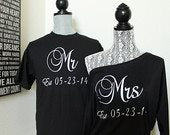 Mr and Mrs Shirts with Wedding Date