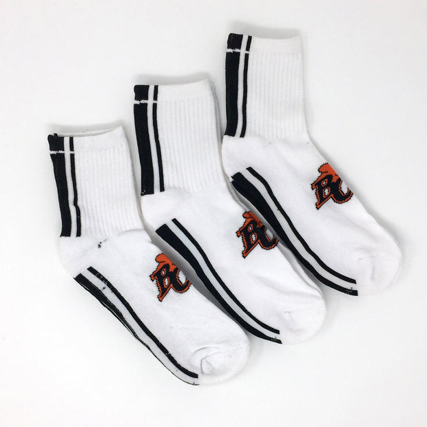 Gertex 3 Pack White Crews Socks