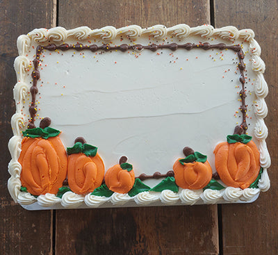 Quarter Sheet Fall Pumpkin Decor Cake