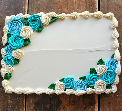 Quarter Sheet Ocean Breeze Flower Garden Cake