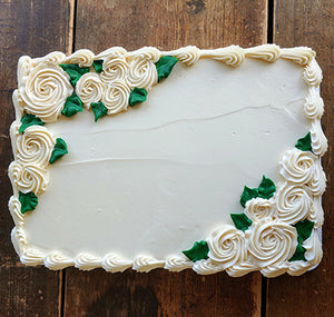 Quarter Sheet White Flower Garden Cake