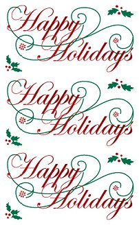 Happy Holidays Script (Refl) Stickers by Mrs. Grossman's