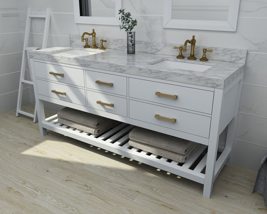 Elizabeth Collection - White - Brushed Gold Finish