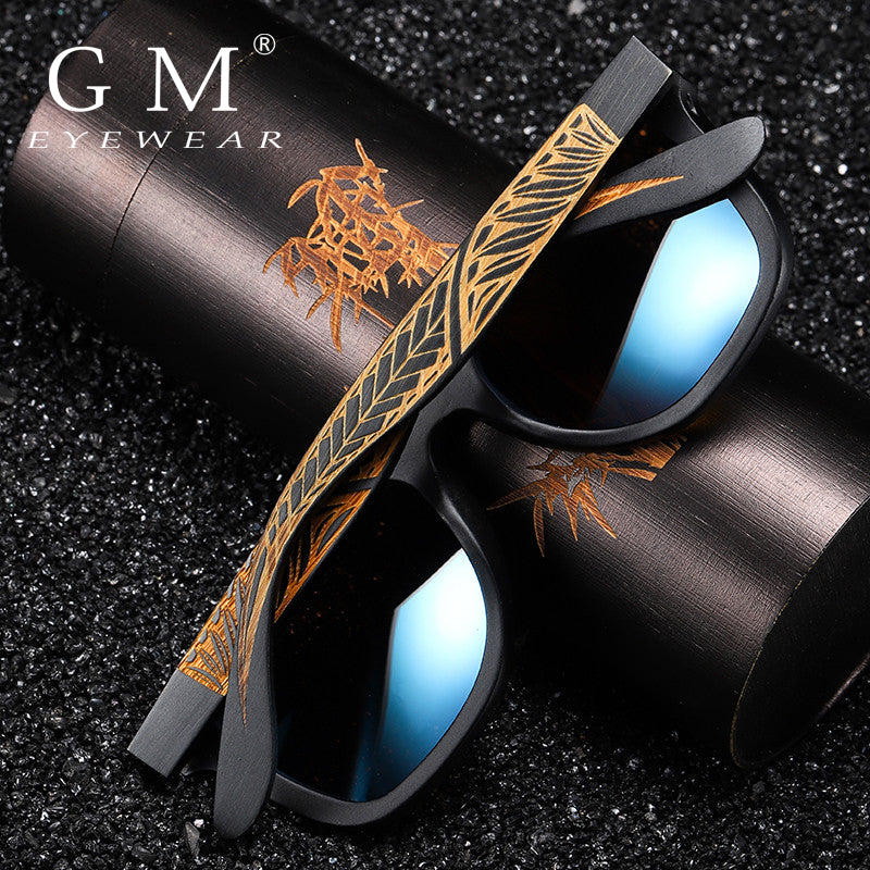 GM Unisex Handmade Black Bamboo Wooden Sunglasses