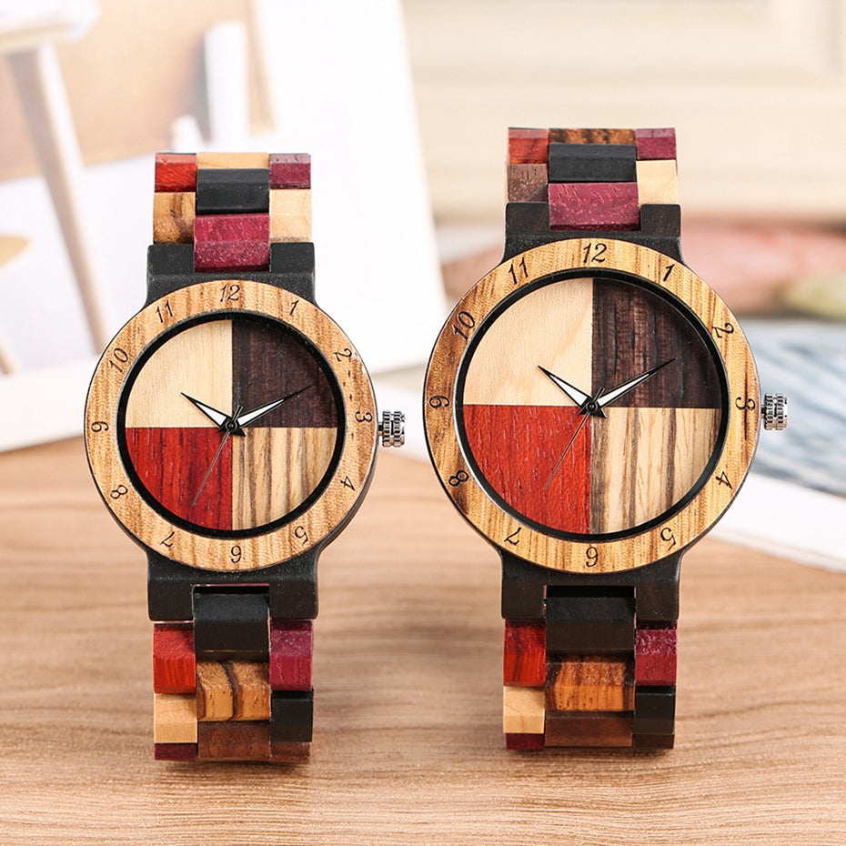 Mixed Color Wood Watch unisex.