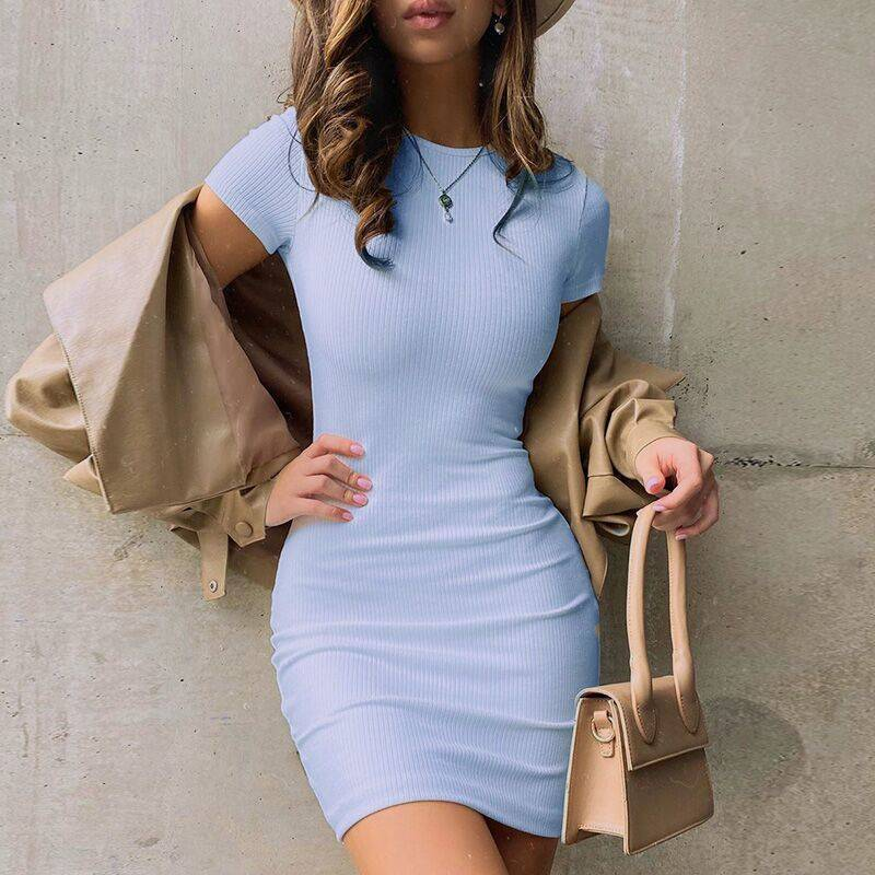 Women Toplook Solid Color mini dress Soft Vintage