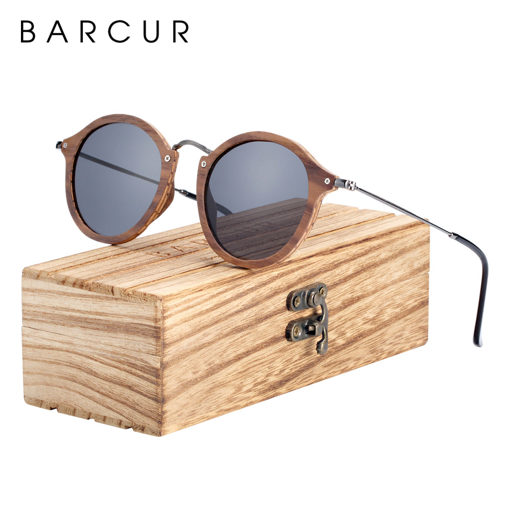 BARCUR Vintage Unisex Natural Black Walnut Sunglasses