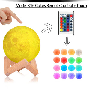 Moon Lamp 3D Print Night Light Rechargeable 16 Colors Change Remote