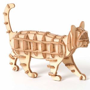 3D Wooden Puzzle Toy Assembly Model DIY Cat