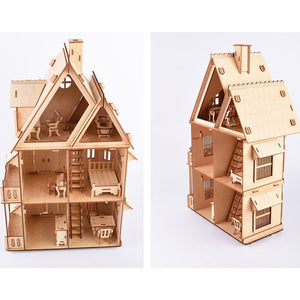 wooden 3D DIY Assembly dollhouse with miniature furniture sets
