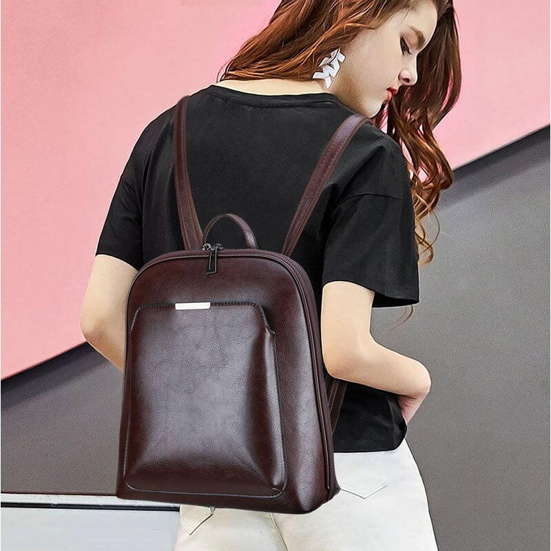 Vintage Backpack Women High Quality Leather.