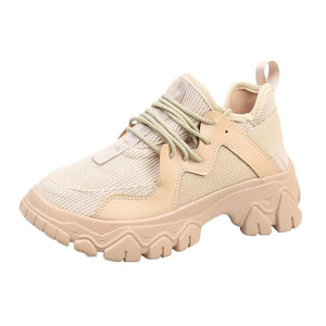 Women Sneakers Khaki Platform Casual