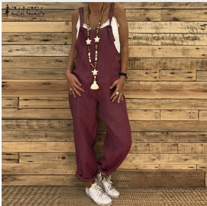 Women Casual Large Size Dungarees 100% Cotton