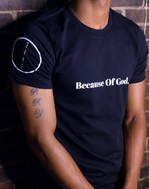 """Because of God."" Black Premium Short Sleeve Shirt"