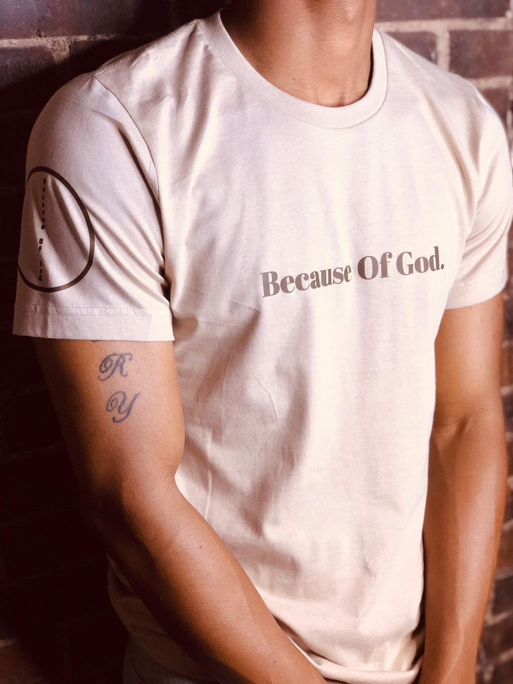 """Because of God."" Tan Premium Short Sleeve Shirt"