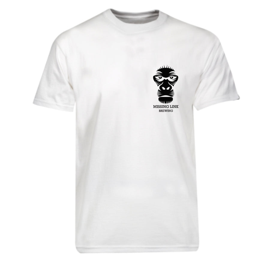 Missing Link Brewing White T-Shirt Front