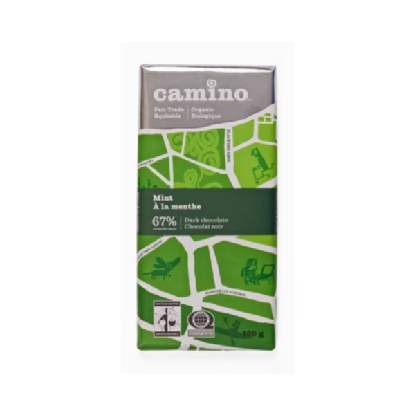Camino Fair Trade Organic Mint 67% Dark Chocolate 100G