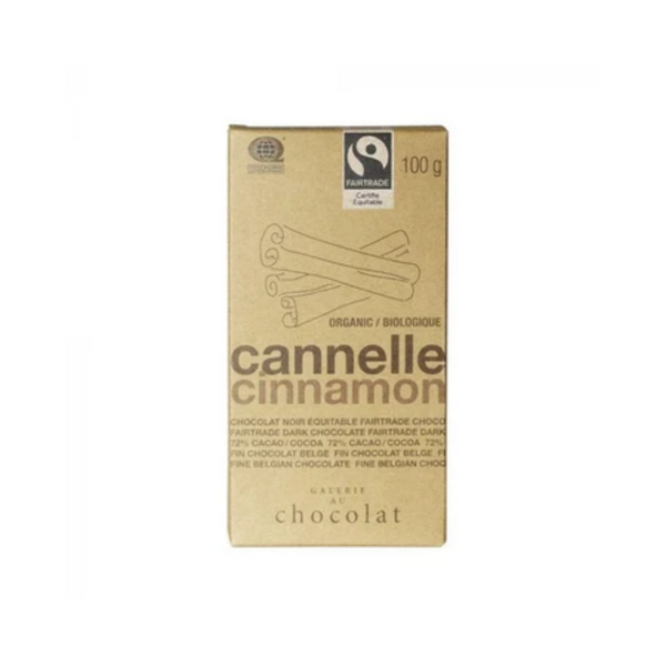 Galerie au Chocolat Fairtrade Dark Chocolate Cinnamon Bar 100G