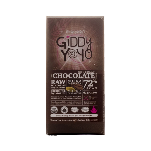 Giddy Yoyo Moka Cardamom 72% Dark Chocolate Bar Certified Organic 62g