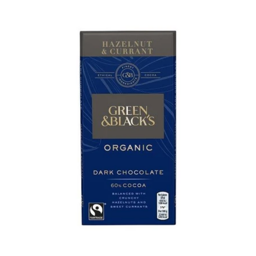 Green and Blacks Organic Hazelnut and Currant 60% Dark Chocolate 90g