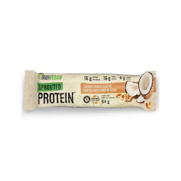 Iron Vegan Sprouted Protein Bar Coconut Cashew Cluster 64G