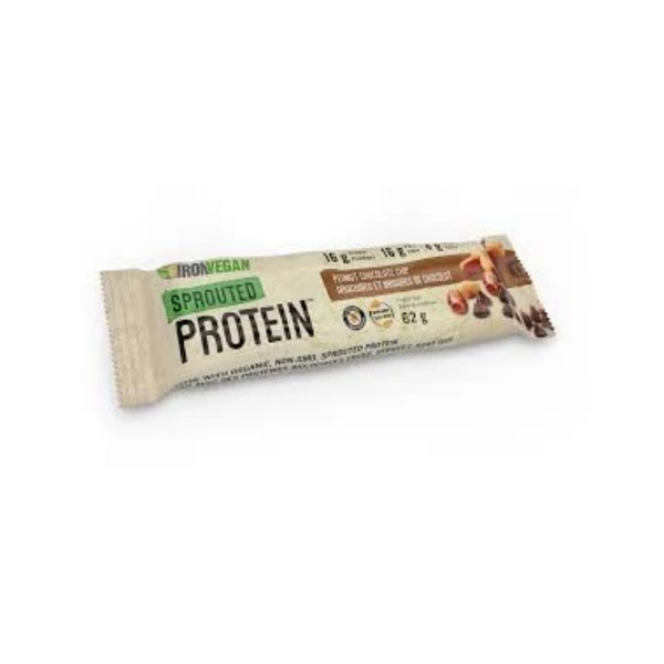 Iron Vegan Sprouted Protein Bar Peanut Chocolate Chip 62G