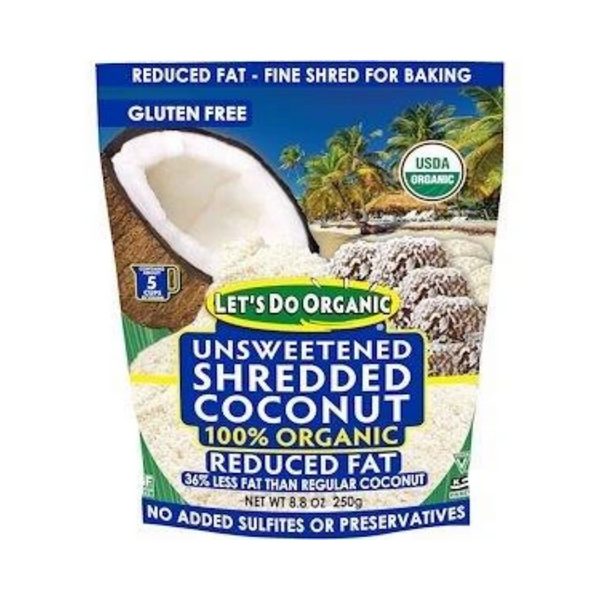 Let's Do Organic 100% Organic Unsweetened Shredded Coconut Reduced Fat 250G