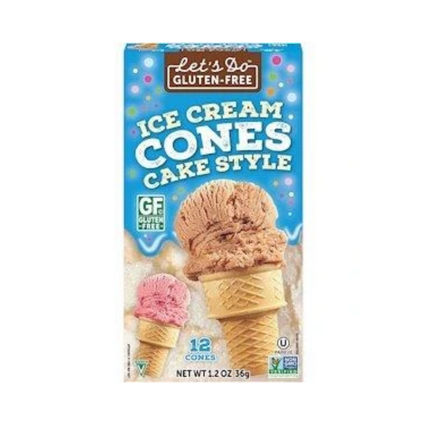 Let's Do Organic Gluten Free Ice Cream Cones Cake Style 12 Cones