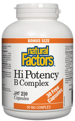 Natural Factors Hi Potency B Complex 50MG 210Cap Bonus Size